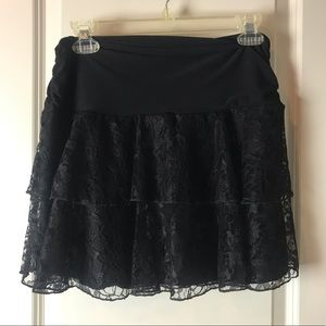 Maurices stretchy black lace mini skirt